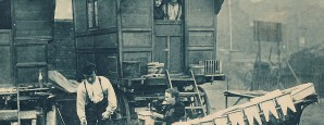 A Gypsy carpenter busy making footstools. His vardo appears to be in a town yard. From an early 20th century postcard.