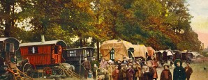 An encampment of Gypsies taking part in the annual harvest of the hops each September in Kent. From an early 20th century postcard.