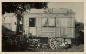 A showman's wagon belonging to the famous circus proprietor, Lord George Sanger (1825-1911). Sanger is the man wearing the top hat, standing to the left of the van. Location unknown.