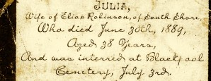 The memorial card of Julia Robinson, nee Boswell (1850-1889), the daughter of Silvester Boswell and Florence Chilcott and the wife of Elias Robinson.