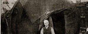 Joshua Gray, born in Lincolnshire in 1836, outiside his tent in Birkdale, Lancashire, in 1909.
