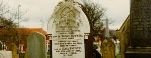 The gravestone of Edward Boswell (1815-1892) and his wife Siari Draper (1822-1904), well known as the fortune-teller 'Gipsy Sarah', at Layton Cemetery, Blackpool, Lancashire.