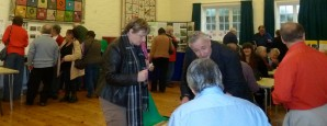 RTFHS members and friends exchange family history information at the Open Day at Hadlow, Kent, 19 October 2013.